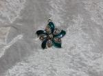 Antique Silver Emerald Flower Diamante Pendant