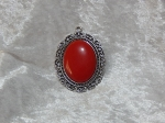 Antique Silver Red Oval Pendant