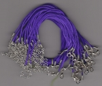 Satin Necklace Cord 2mm with Clasp Purple