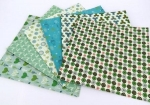 Xmas Printed Card Squares Blues/Greens Pack 24