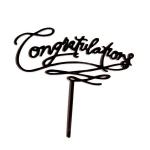 Acrylic Cake Topper - Congratulations Black