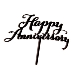Acrylic Cake Topper - Happy Anniversary Black