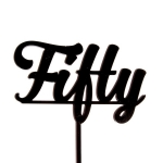 Acrylic Cake Topper - Number Fifty Black