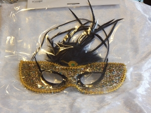 Eye Mask with Feathers Gold