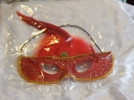 Eye Mask with Feathers Red