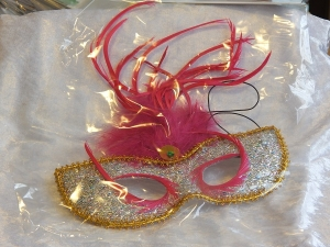 Eye Mask with Feathers Silver