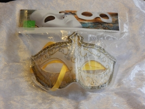Eye Mask with Glitter and Tassel White/Gold