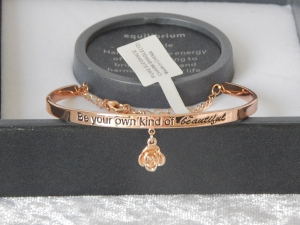 Pure Elegance Charm Bangle Rose Gold Plate - Beautiful *CLEARANCE COST PRICE ONLY*