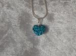 14mm Shamballa Heart Necklace Aqua