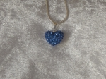 14mm Shamballa Heart Necklace Blue