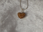 14mm Shamballa Heart Necklace Gold