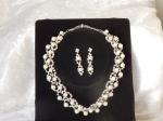 Rhinestone & Pearl Bridal Necklace & Earring Set