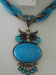 Owl Necklace - Blue