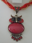 Owl Necklace - Red