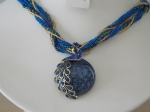 Peacock Necklace - Dark Blue
