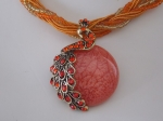Peacock Necklace - Orange