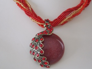Peacock Necklace - Red