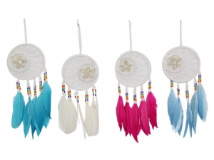 Dreamcatcher Feathered with Shells - White