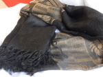 Polyester/Cotton Scarf - Black/Brown