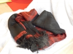 Polyester/Cotton Scarf - Black/Red