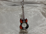 Mini Guitar Clock Black with Red Flame