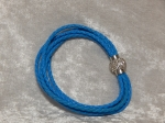 5 Strand Braided Leather Bracelet Blue 18cm
