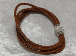 5 Strand Braided Leather Bracelet Brown 19cm