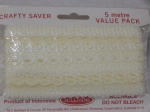 Eyelet Lace Pack of 5m Flower Edge Cream