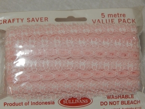 Eyelet Lace Pack of 5m Flower Edge Pink