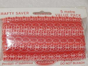 Eyelet Lace Pack of 5m Flower Edge Red