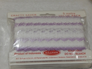Eyelet Lace Pack of 5m Feather Edge White/Lilac