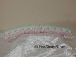 Knitted Coat Hanger #3 Pink/Green/Silver