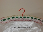 Knitted Coat Hanger #17 Red/Gold/Green