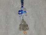 Suncatcher with Pewter Buddha and Gemstones Blue
