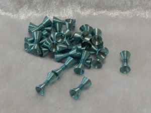 Metallic Wire Coil Beads Hour Glass Light Blue