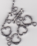 Tibetan Silver Floral Heart Toggle Clasps x 4