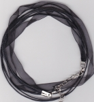 Organza Ribbon/Waxed Cord Necklace Black
