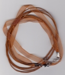 Organza Ribbon/Waxed Cord Necklace Light Brown