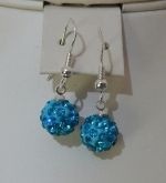 10mm Shamballa Drop Earrings Light Blue