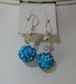 10mm Shamballa Drop Earrings Light Blue