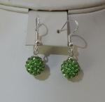 10mm Shamballa Drop Earrings Green