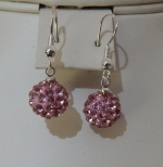 10mm Shamballa Drop Earrings Pink