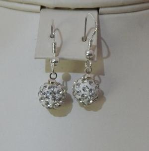 10mm Shamballa Drop Earrings Silver
