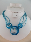 Necklace Glass Three Ring Pendant Blue
