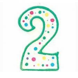Wilton Number 2 Green Birthday Candle