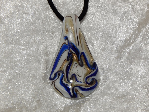 Dichroic Glass Pendant Drop Dark Blue